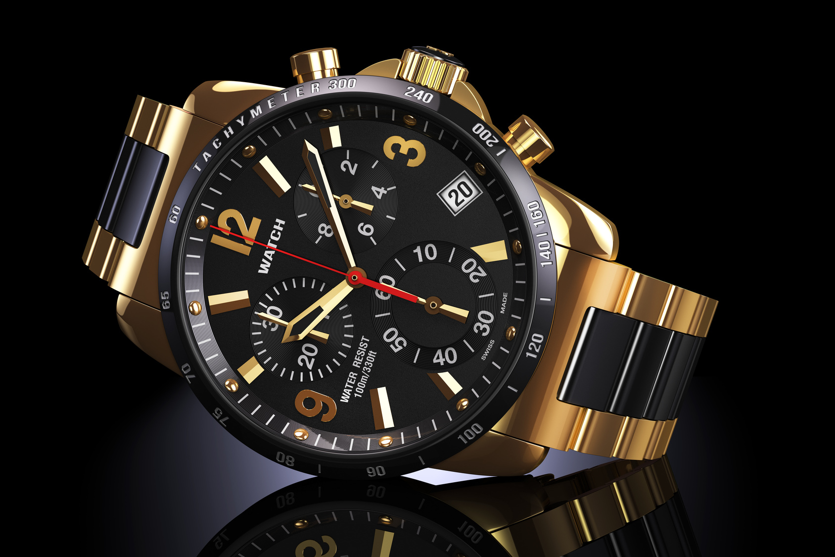 Mens swiss mechanical golden wrist watch with gold wristband and black dial, tachymeter, chronograph on dark reflection plane. Illustration 3d